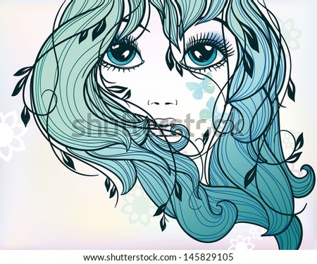 vector portrait of a beautiful blue eyes girl  - stock vector