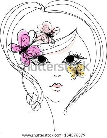 vector portrait of a beautiful eyes girl with three butterflies illustration, hand drawn sketch - stock vector