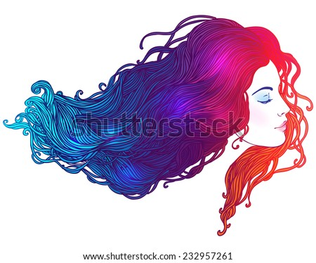 Vector portrait of a beautiful girl with dyed hair, professional hair coloring concept - stock vector