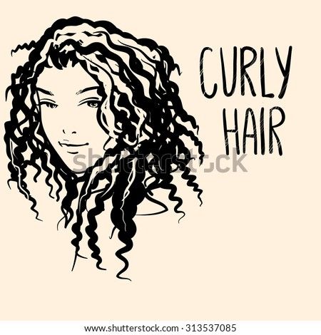 Vector portrait of a girl with curly hair - stock vector