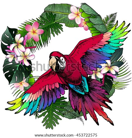 Vector portrait of Ara Macaw parrot. Decorated with exotic palm leaves and flowers. Wild African animals collection in hand drawn color style.  - stock vector