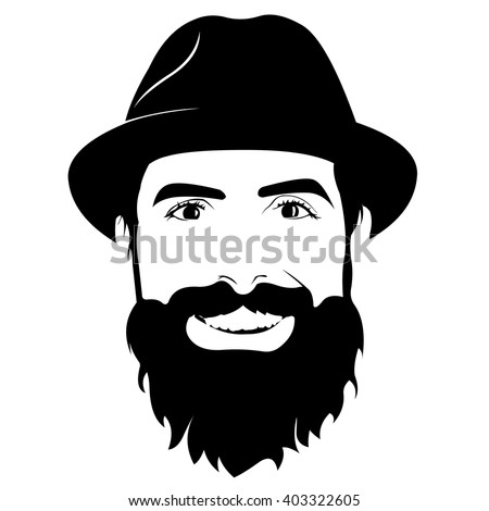 Vector portrait of bearded man wearing hat smiling and looking at camera - stock vector