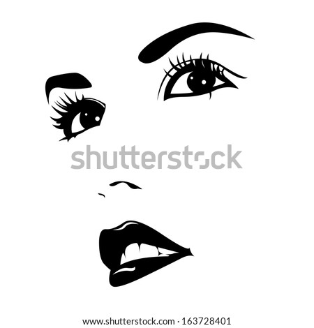 Vector portrait of beautiful confident woman. Easy editable illustration.  - stock vector