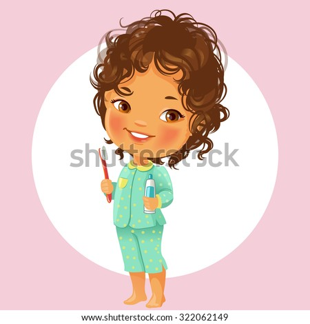 Vector portrait of cute little girl ready to brush teeth in the morning. Wear  pajamas, hold toothbrush and toothpaste. Smiling schoolgirl with brown curly hair  Isolated on white background.  - stock vector