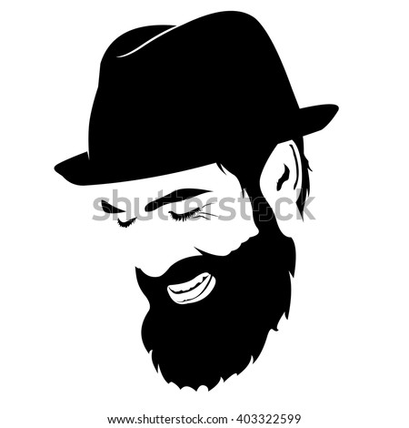 Vector portrait of laughing bearded man with hat with closed eyes  - stock vector