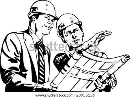 vector portrait of the two engineers watching the plan - stock vector