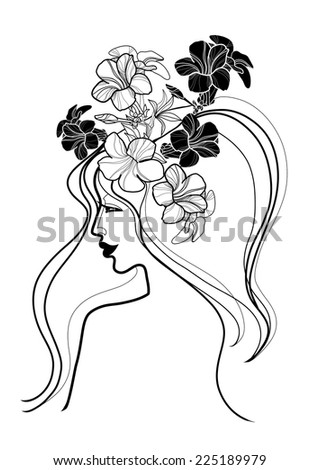 Vector portrait of woman with flower in long hair - stock vector
