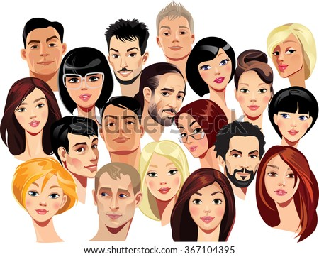 vector portraits of faces of men and women - stock vector