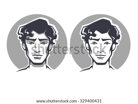 vector portraits of handsome young man - stock vector