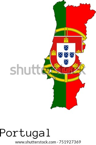 Portugal Map Stock Vector Shutterstock - Portugal map flag