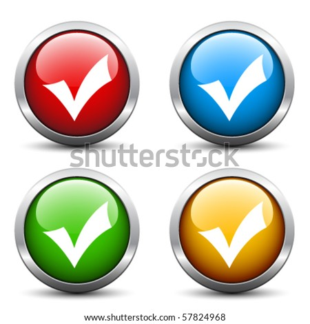 Vector positive check mark buttons - stock vector