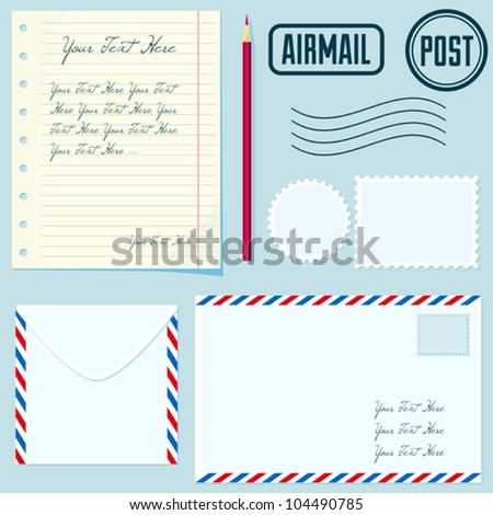 Vector post set with envelopes, stamp, paper, postmarks, pencil. Flat style colection