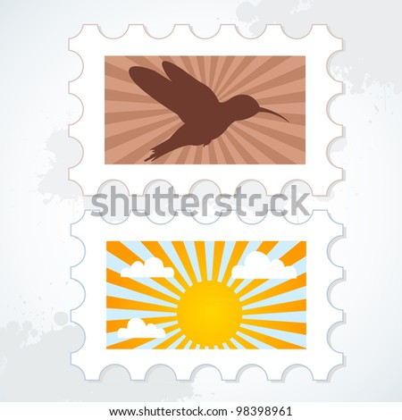 Vector post stamp set with bird and sun on a grunge background - stock vector