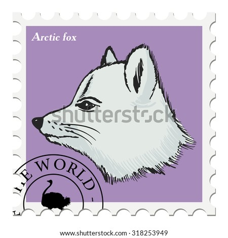 vector, post stamp with arctic fox - stock vector