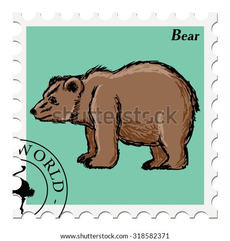 vector, post stamp with bear - stock vector