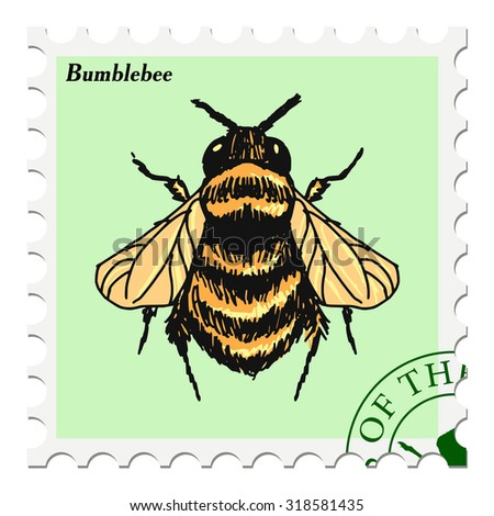 vector, post stamp with bumblebee - stock vector