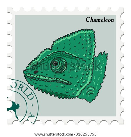vector, post stamp with chameleon - stock vector