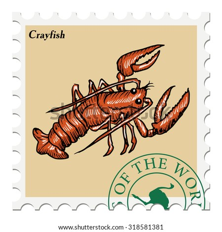 vector, post stamp with crayfish - stock vector