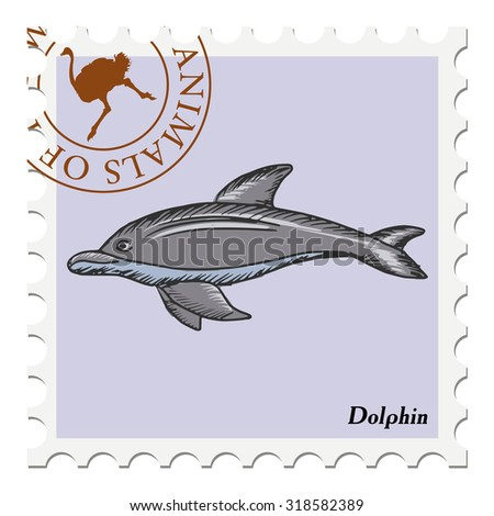 vector, post stamp with dolphin - stock vector