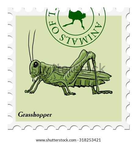 vector, post stamp with grasshopper - stock vector