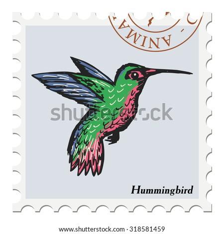 vector, post stamp with hummingbird - stock vector