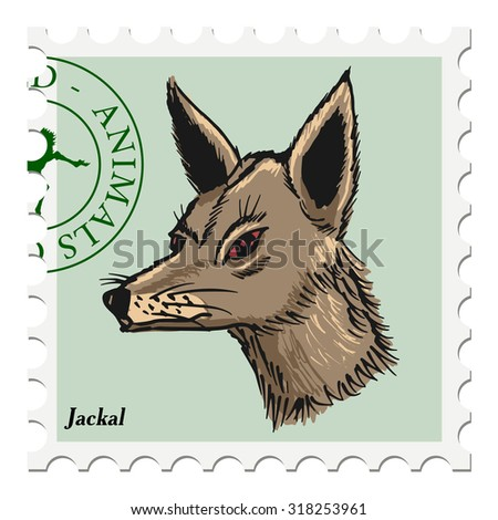 vector, post stamp with jackal - stock vector