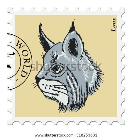 vector, post stamp with lynx - stock vector