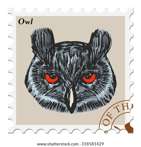 vector, post stamp with owl - stock vector