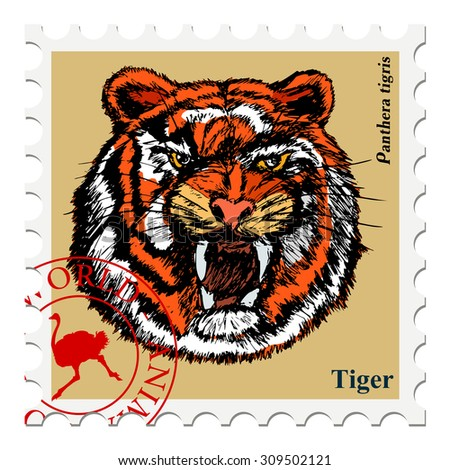 vector, post stamp with tiger - stock vector