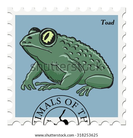vector, post stamp with toad - stock vector