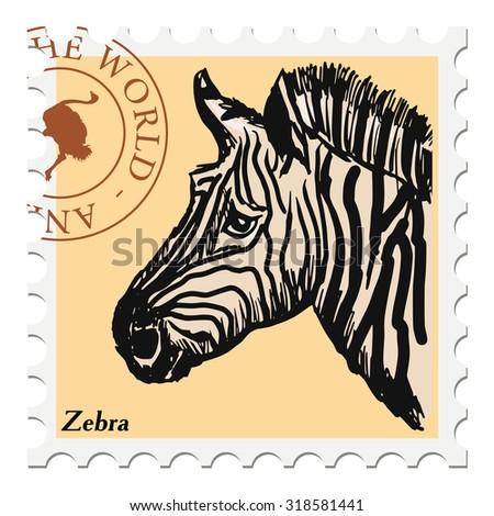 vector, post stamp with zebra - stock vector