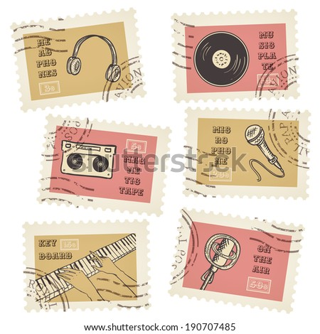Vector postage stamps collection, retro music equipment theme, canceled - decorative set for scrapbooking - stock vector