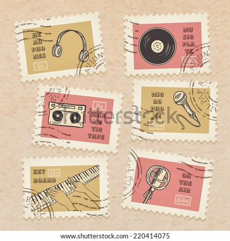 Vector postage stamps collection, retro music equipment theme, canceled - decorative set for scrapbooking on realistic cardboard background - stock vector