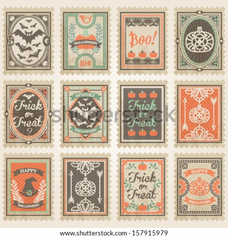 Vector postage stamps set. Halloween collection #1 - stock vector