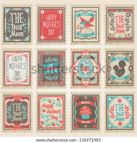 Vector postage stamps set. Mother's Day collection - stock vector
