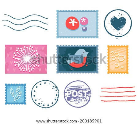 Vector postal stamp and postmark isolated set with floral pictures, heart shape, bird and lines - stock vector