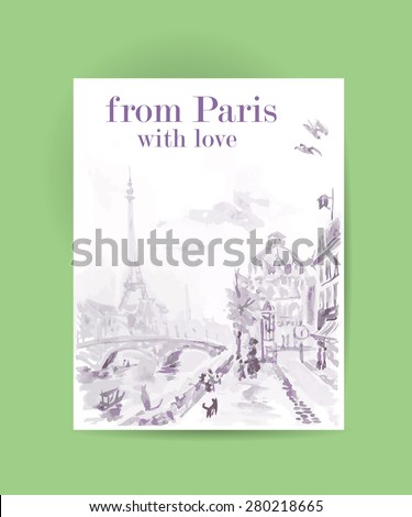 Vector postcard Paris template with text space. Memory card design, love theme, Tour d'Eiffel. - stock vector