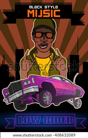 vector poster black man musician rapper and pink low rider (text:black style music,low rider ) - stock vector