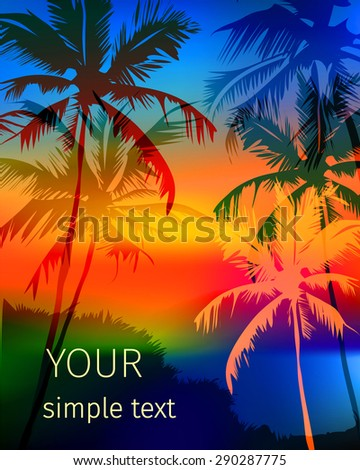 vector poster depicting a tropical multicolored sunset on Vagator beach, Goa, India with palm trees and space for text - stock vector