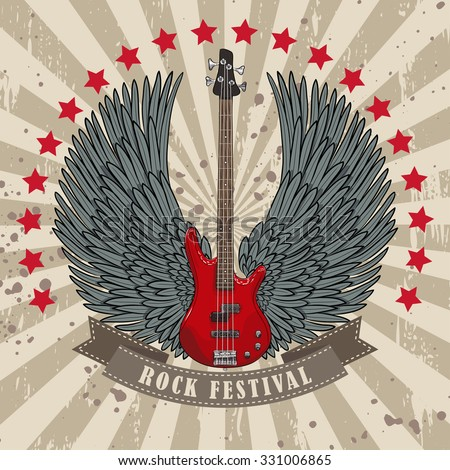 vector poster for rock festival with winged guitar. EPS - stock vector