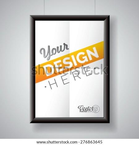 Vector poster frame template of a folded paper sheet. Eps 10 illustration. - stock vector