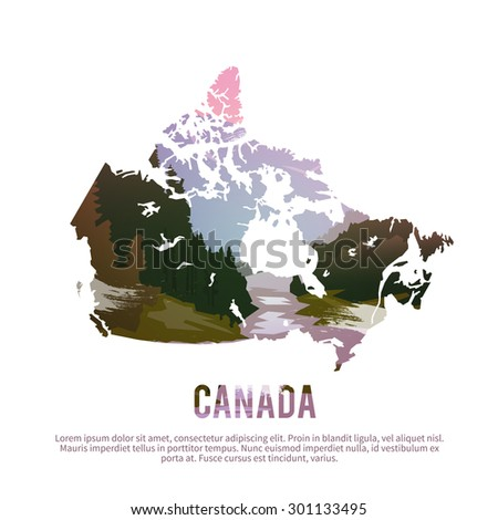 Vector poster. Map of Canada on the background of nature. - stock vector