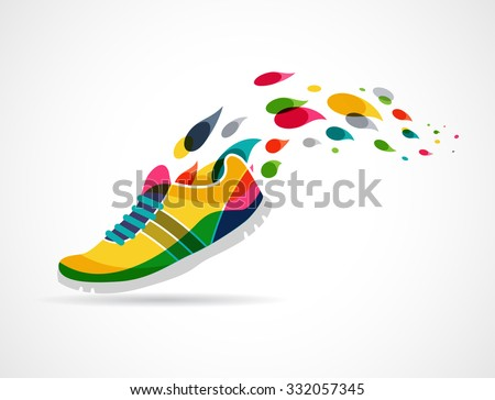 Vector poster - running and sport - stock vector
