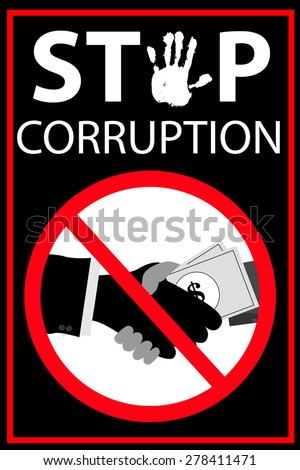 Vector poster Stop Corruption   - stock vector