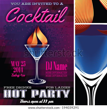 vector poster template for the cocktail party - stock vector
