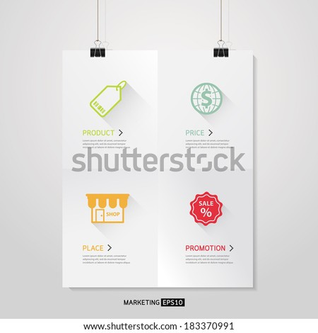 Vector Poster template of a paper sheet with 4 P Marketing Mix Business concept  - stock vector