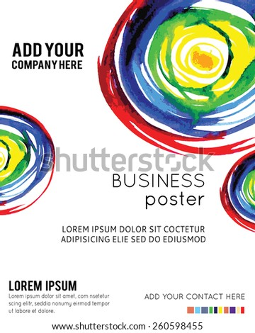 Vector Poster Template with Watercolor Paint Splash. Abstract Watercolor Background for Business Flyers, Posters and Placards - stock vector