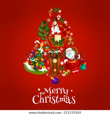 Vector poster with Christmas symbols of jingle bell, balls, santa claus, gifts, sweets, clock, tree with garland lights, gingerbread cookies, candles, biscuits, champagne bottle, snow on fir cones
