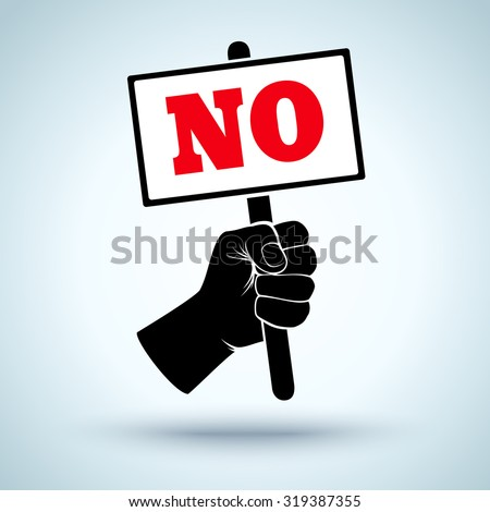 Vector poster with fist and placard. Protest - stock vector