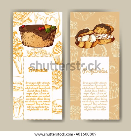Vector poster with hand-drawn desserts. Delicious food. Decorative background. Beautiful card - stock vector